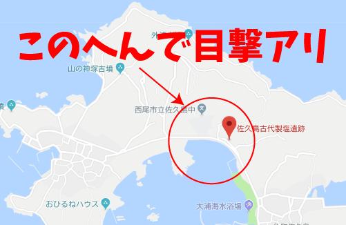 ねことじいちゃんロケ地『佐久島古代製塩遺跡前の海沿いグーグルマップ』
