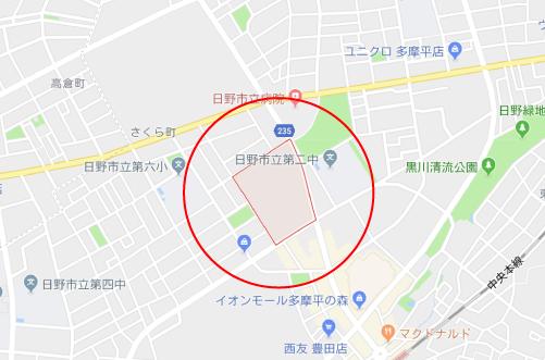チア☆ダンロケ地『日野市トゥモロープラザグーグルマップ